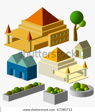 mini building isometric. very detail isometric, see the others