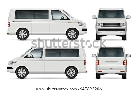 Mini bus vector template for car branding and advertising. Isolated city mini van on white. All layers and groups well organized for easy editing and recolor. View from left, right side, front, back