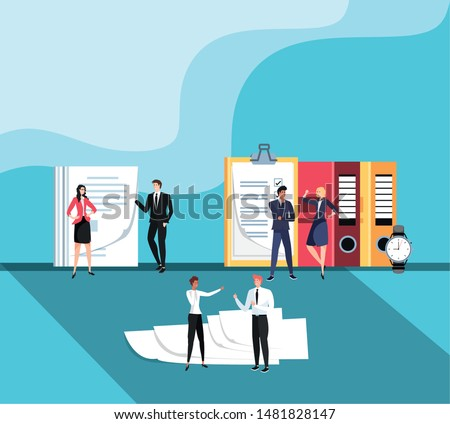 mini business people with documents in the workplace