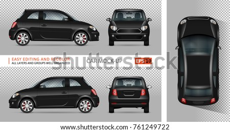mini car vector mock up for