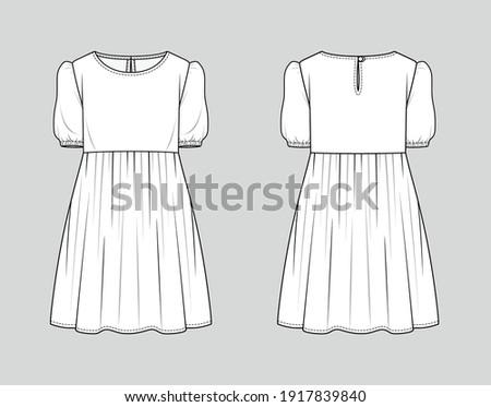 Mini dress. Fashion sketch. Vector illustration. Flat technical drawing. Mockup template. Сток-фото ©
