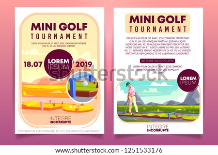 Mini golf tournament cartoon vector promo brochure, invitation flyer template. Player with putter playing golf on course or putting line outdoors illustration. Country sports club competition leaflet