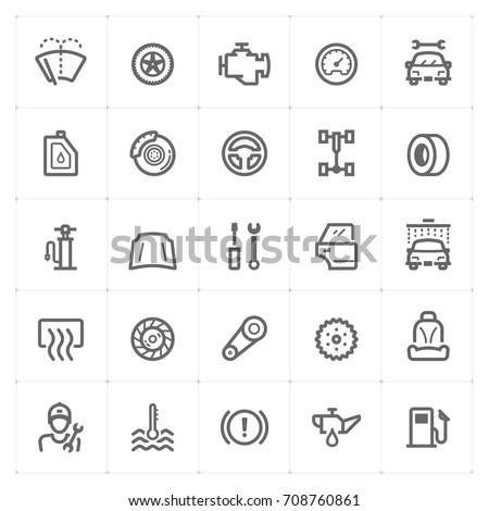 Mini Icon set – garage and auto part icon vector illustration