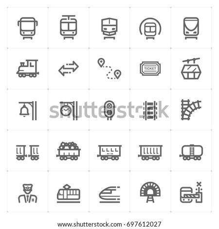 Mini Icon set – train and transport icon vector illustration