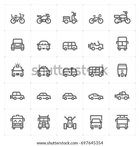 mini icon set   vehicle and