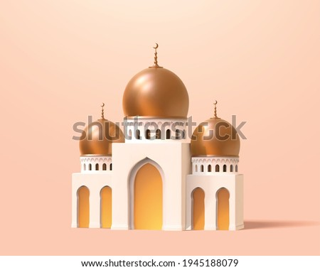 Mini mosque or palace in 3d toy cartoon design. Architecture element isolated on apricot pink background.