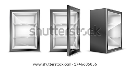 Mini refrigerator for beverages with transparent glass door. Empty gray fridge for fresh food or drinks in supermarket or kitchen. Realistic 3d vector modern cooler with shelves front and corner view