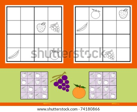 Mini-Sudoku vector set. Fruits. Easy.