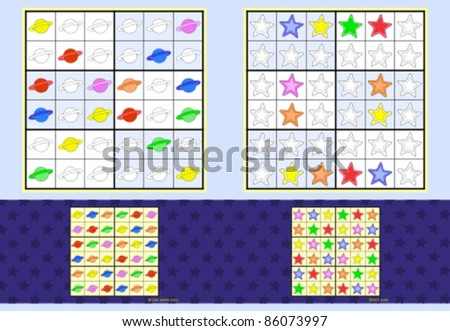 Mini-Sudoku. Vector set. Planets and stars. Super easy and easy.