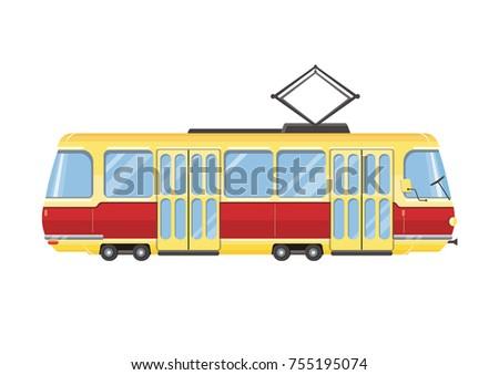 mini tram vector flat