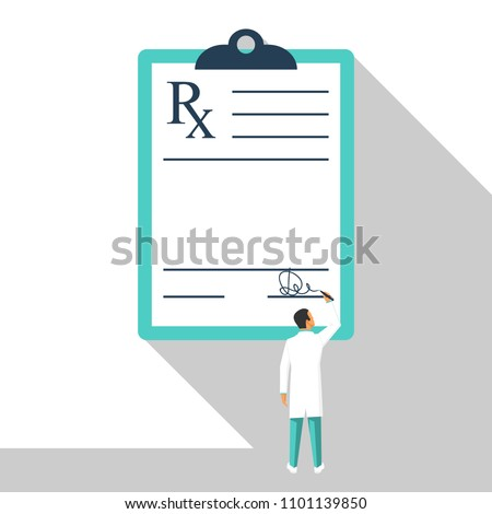 Miniature doctor writing prescription. Clipboard whit signature. Rx prescription form. Medical prescription pad. Vector illustration flat design style. Medical background, template.