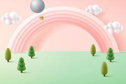 Miniature forest background in pastel tone, decorated with cute pink rainbow and hot air balloon, 3d illustration