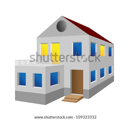 Miniature house with details, vector illustration