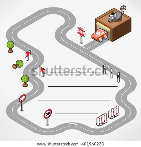 miniature race track with car