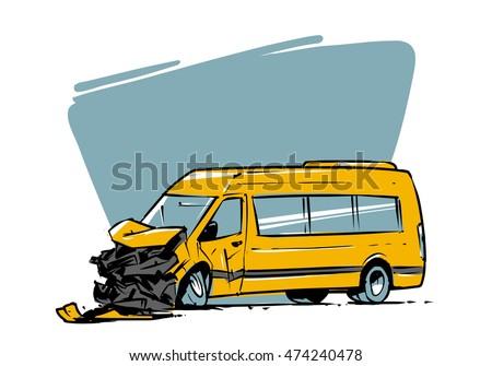 minibus crash hand drawn