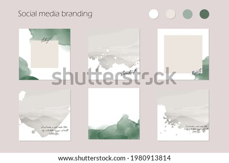 minimal abstract Instagram social media story post feed background, web banner template. green pastel watercolor vector texture frame mock up. for beauty, jewelry, cosmetics, care, wedding, make up