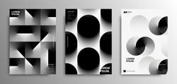 Minimal abstract posters pack. Covers template with graphic geometric shapes elements. Futuristic design. Vector EPS 10.