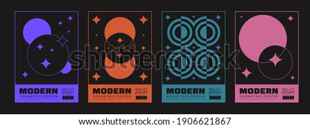 Minimal abstract posters set. Swiss Design composition with geometric shapes. Modern pattern.