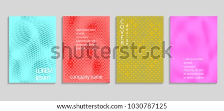 Minimal abstract vector halftone cover design template. Future geometric gradient background. Vector templates for placards, banners, flyers, presentations and reports #1030787125