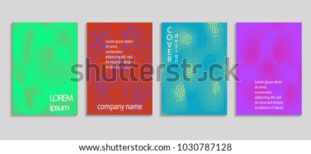 Minimal abstract vector halftone cover design template. Future geometric gradient background. Vector templates for placards, banners, flyers, presentations and reports #1030787128