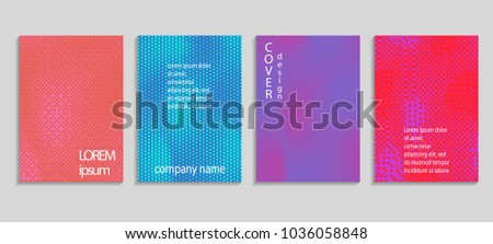 Minimal abstract vector halftone cover design template. Future geometric gradient background. Vector templates for placards, banners, flyers, presentations and reports #1036058848