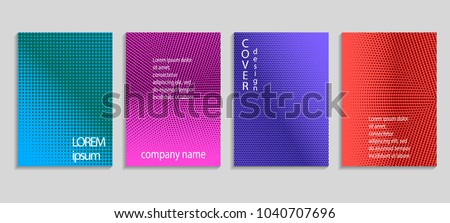 Minimal abstract vector halftone cover design template. Future geometric gradient background. Vector templates for placards, banners, flyers, presentations and reports #1040707696