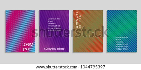 Minimal abstract vector halftone cover design template. Future geometric gradient background. Vector templates for placards, banners, flyers, presentations and reports #1044795397