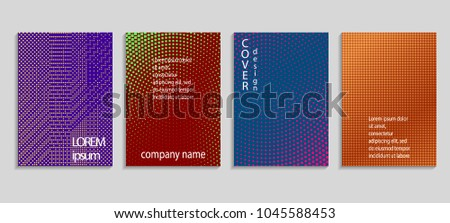 Minimal abstract vector halftone cover design template. Future geometric gradient background. Vector templates for placards, banners, flyers, presentations and reports #1045588453