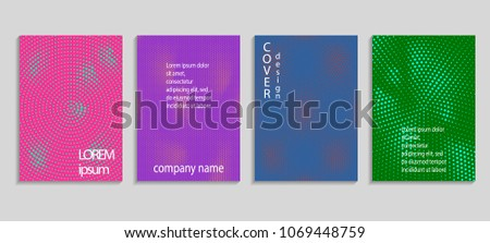 Minimal abstract vector halftone cover design template. Future geometric gradient background. Vector templates for placards, banners, flyers, presentations and reports #1069448759
