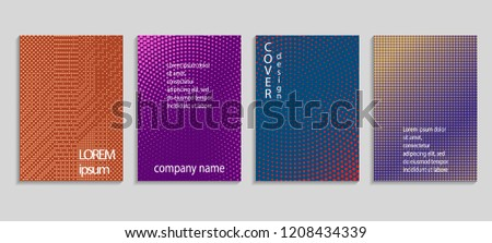 Minimal abstract vector halftone cover design template. Future geometric gradient background. Vector templates for placards, banners, flyers, presentations and reports #1208434339