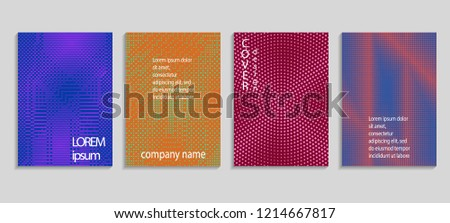 Minimal abstract vector halftone cover design template. Future geometric gradient background. Vector templates for placards, banners, flyers, presentations and reports #1214667817