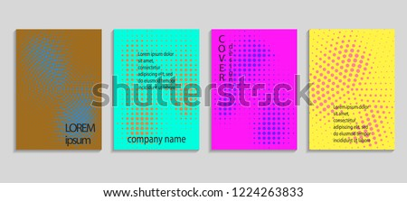 Minimal abstract vector halftone cover design template. Future geometric gradient background. Vector templates for placards, banners, flyers, presentations and reports #1224263833