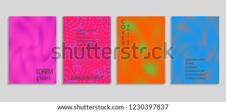 Minimal abstract vector halftone cover design template. Future geometric gradient background. Vector templates for placards, banners, flyers, presentations and reports #1230397837
