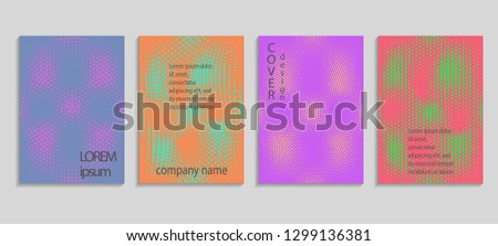 Minimal abstract vector halftone cover design template. Future geometric gradient background. Vector templates for placards, banners, flyers, presentations and reports #1299136381