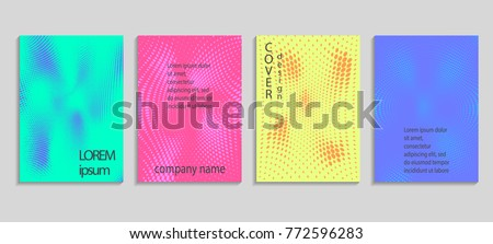 Minimal abstract vector halftone cover design template. Future geometric gradient background. Vector templates for placards, banners, flyers, presentations and reports #772596283