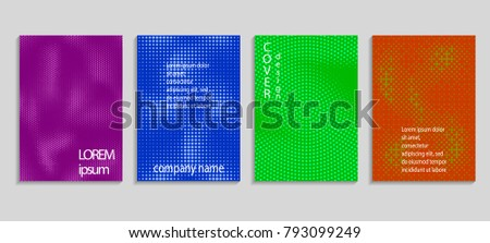 Minimal abstract vector halftone cover design template. Future geometric gradient background. Vector templates for placards, banners, flyers, presentations and reports #793099249