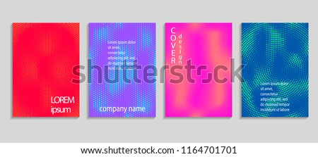 Minimal abstract vector halftone covers design. Future geometric template. Vector templates for placards, banners, flyers, presentations and reports