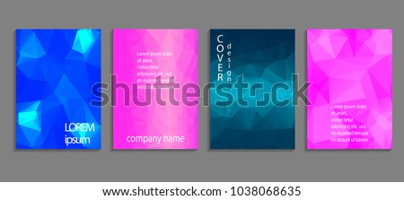 Minimal abstract vector low poly cover design template. Future geometric gradient background. Vector templates for placards, banners, flyers, presentations and reports #1038068635