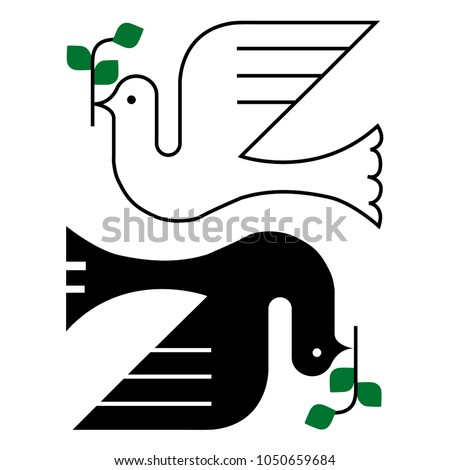 Minimal and geometric Olive and Pigeon Peace Bird Logo illustration emblem
