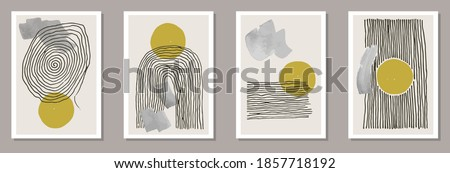 Minimal artworks vector collection with gold circles and black parallel lines. Abstract trendy posters, placards, banners. Editable templates with brush stroke elements. Stylish minimal covers Foto stock ©