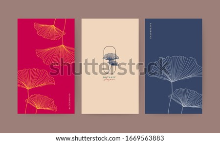 Minimal banner for branding packaging. Tropical summer background. For spa resort luxury hotel, yoga, beauty, cosmetic, organic texture. Ginkgo leaf drawing line, vector illustration