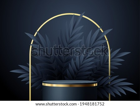 Minimal black scene with geometric shapes and palm leaves. Cylindrical gold and black podium on a black background. 3D stage for displaying a cosmetic product