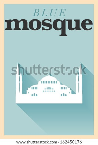 Minimal Blue Mosque Poster Design
