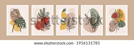 Minimal boho poster. Modern botanical wall art decor with nature elements, tropical leaves, fruits, abstract organic shapes. Contemporary botanic print vector set. Creative artwork with fig, lemon