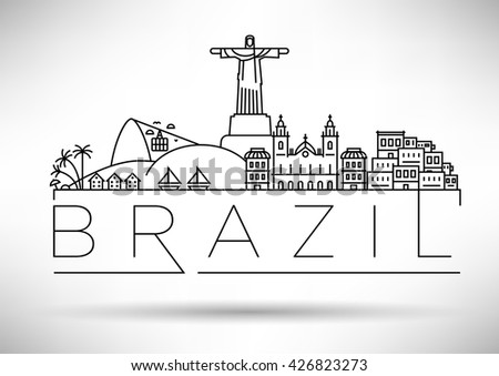 Minimal Brazil Linear Skyline with Typographic Design