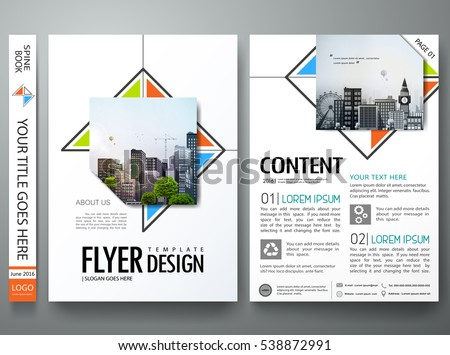 Minimal Brochure Report Business Flyers Magazine Poster Template Portfolio Design Vector Abstract Orange Blue