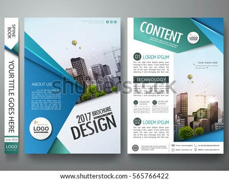 Minimal brochure report business flyers magazine poster template. Portfolio design vector. Abstract blue and green square on cover book presentation.