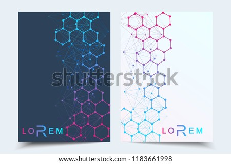 Minimal brochure templates, magazine, leaflet, flyer, cover, booklet, annual report, banner. Scientific concept for medical, technology chemistry Hexagonal molecule structure Dna atom neurons