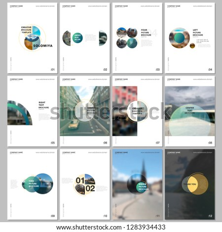 Minimal brochure templates with circles, round elements on white background. Covers design templates for flyer, leaflet, brochure, report, presentation, advertising, magazine. #1283934433
