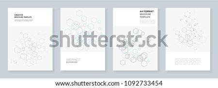 Minimal brochure templates with hexagons and lines on white. Hexagon infographic. Digital technology, science or medical concept. Templates for flyer, leaflet, brochure, report, presentation